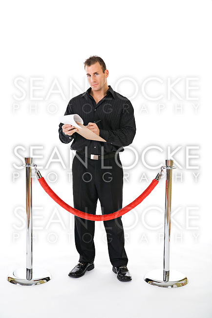 Series with a multi-ethnic group of friends and a red carpet and stanchions.  Could be used for ads for a fancy night out or a premiere.