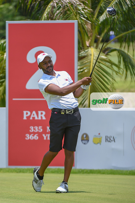 Saleh ALKAABI (QAT) watches his tee shot on 2 during Rd 1 of the Asia-Pacific Amateur Championship, Sentosa Golf Club, Singapore. 10/4/2018.<br /> Picture: Golffile | Ken Murray<br /> <br /> <br /> All photo usage must carry mandatory copyright credit (© Golffile | Ken Murray)