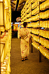 A visitor dressed in a traditional Japanese clothing enjoys the display of lanterns during the annual ''Mitama Festival'' at Yasukuni Shrine on July, 13, 2017, Tokyo, Japan. Over 30,000 lanterns are displayed along the entrance of the shrine to help spirits find their way during the annual celebration for the spirits of ancestors. The festival runs until July 16th. (Photo by Rodrigo Reyes Marin/AFLO)