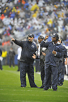 21 September 2013:  Penn State coach Bill O'Brien and Stan Hixon. The Penn State Nittany Lions defeated the Kent State Golden Flashes 34-0 at Beaver Stadium in State College, PA.