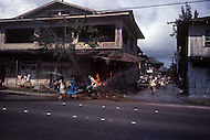 Honolulu, Hawaii, June 1969. American-Japanese war film that dramatises the Japanese attack on Pearl Harbor.  View of downtown during the bombing. The film was directed by Richard Fleischer