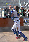 Western Nevada College's Hali Bennion catches a foul pop fly against Snow College at Edmonds Sports Complex in Carson City, Nev., on Friday, March 6, 2014. WNC won the first game of the series 3-1. <br /> Photo by Cathleen Allison/Nevada Photo Source