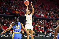 College Park, MD - March 25, 2019: Maryland Terrapins guard Kaila Charles (5) shoots the ball during game between UCLA and Maryland at  Xfinity Center in College Park, MD.  (Photo by Elliott Brown/Media Images International)