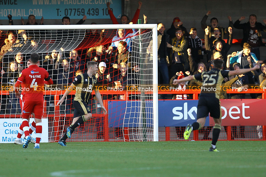 Rhys Healey of MK Dons celebrates his goal in the first half and the third for his team during Crawley Town vs MK Dons, Sky Bet EFL League 2 Football at Broadfield Stadium on 3rd November 2018