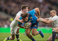 Twickenham, United Kingdom.    [L] Owen FARRELL and [R] Mike BROWN,  attempt to hold up, Giovanbattista VENDDITTI, from scoring his first half try duing the Six Nationas match. England vs Italy, at the  RFU Stadium, Twickenham, England, <br /> <br /> Sunday  26/02/2017<br /> <br /> [Mandatory Credit; Peter Spurrier/Intersport-images]