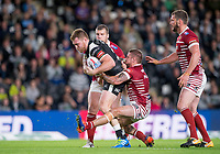 Picture by Allan McKenzie/SWpix.com - 08/09/2017 - Rugby League - Betfred Super League - The Super 8's - Hull FC v Wigan Warriors - KC Stadium, Kingston upon Hull, England - Hull FC's Scott Taylor is tackled by Wigan's Michael MciLorum.