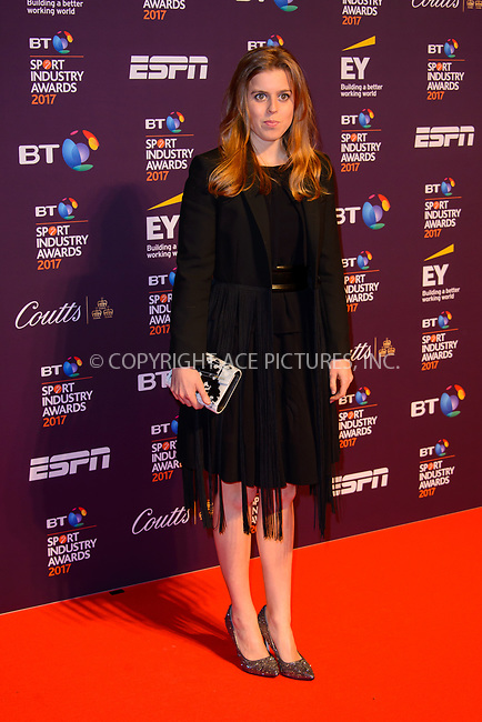 www.acepixs.com<br /> <br /> April 27 2017, London<br /> <br /> Princess Beatrice of York arriving at the BT Sport Industry Awards at Battersea Evolution on the 27th April 2017 at Battersea Evolution, London<br /> <br /> By Line: Famous/ACE Pictures<br /> <br /> <br /> ACE Pictures Inc<br /> Tel: 6467670430<br /> Email: info@acepixs.com<br /> www.acepixs.com