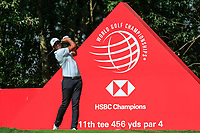 Tony Finau (USA) on the 11th tee during round 1 at the WGC HSBC Champions, Sheshan Golf Club, Shanghai, China. 31/10/2019.<br /> Picture Fran Caffrey / Golffile.ie<br /> <br /> All photo usage must carry mandatory copyright credit (© Golffile | Fran Caffrey)