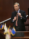 Nevada Sen. Greg Brower, R-Reno, speaks on the Senate floor at the Legislative Building, in Carson City, Nev., on Friday, Feb. 20, 2015. <br /> Photo by Cathleen Allison
