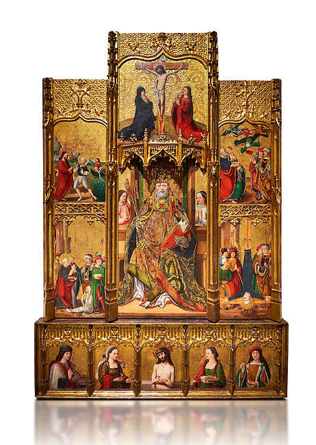 Gothic painted bas-relief of Life of St Peter by Joan Gasco. Polycchrome and gold leaf on wood. Date Circa 1516.  From the church of Santa Maria of Palautordera (Valles Oriental). National Museum of Catalan Art, Barcelona, Spain, inv no: 015934-000