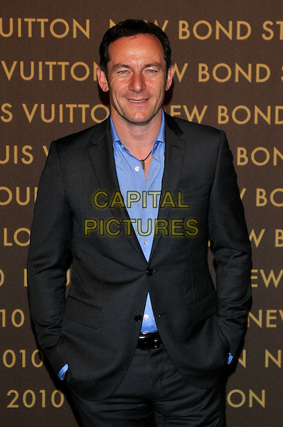 JASON ISAACS .attends the launch of the Louis Vuitton Bond Street Maison Store in London, England, UK, May 25th, 2010. .half length blue shirt grey gray suit hands in pockets .CAP/PL.©Phil Loftus/Capital Pictures.