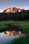 Summit of Mount Lassen at sunrise reflected in Kings Creek, Upper Meadow, Lassen Volcanic National Park, California