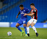 Enda Stevens of Sheffield Utd  tussles with Nathaniel Mendez-Laing of Cardiff City during the Championship match at the Cardiff City Stadium, Cardiff. Picture date: August 15th 2017. Picture credit should read: Simon Bellis/Sportimage