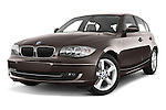 Low aggressive front three quarter view of a 2004 - 2011 BMW 1-Series 118i 5 Door Hatchback 2WD.