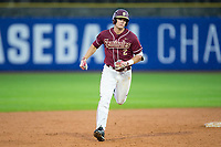 Jackson Lueck (2) of the Florida State Seminoles rounds the bases after hitting a walk-off 2-run home run in the bottom of the 12th inning against the Notre Dame Fighting Irish in Game Four of the 2017 ACC Baseball Championship at Louisville Slugger Field on May 24, 2017 in Louisville, Kentucky.  The Seminoles defeated the Fighting Irish 5-3. (Brian Westerholt/Four Seam Images)