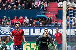 Emmanuel Riviere of Club Atletico Osasuna and Kepa Arrizabalaga of Athletic Club during the match of  La Liga between Club Atletico Osasuna and Athletic Club Bilbao at El Sadar Stadium  in Pamplona, Spain. April 01, 2017. (ALTERPHOTOS / Rodrigo Jimenez)
