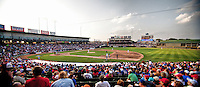 Round Rock's Dell Diamond during the MLB exhibition baseball game between the Texas Rangers and the Round Rock Express on April 2, 2012 in Round Rock, Texas. The Rangers out-slugged the Express 10-8. (Andrew Woolley / Four Seam Images).