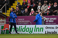 Lincoln City manager Danny Cowley makes his way to the stands after he was sent off by Referee Ross Joyce<br /> <br /> Photographer Chris Vaughan/CameraSport<br /> <br /> The EFL Sky Bet League Two - Lincoln City v Notts County - Saturday 13th January 2018 - Sincil Bank - Lincoln<br /> <br /> World Copyright &copy; 2018 CameraSport. All rights reserved. 43 Linden Ave. Countesthorpe. Leicester. England. LE8 5PG - Tel: +44 (0) 116 277 4147 - admin@camerasport.com - www.camerasport.com
