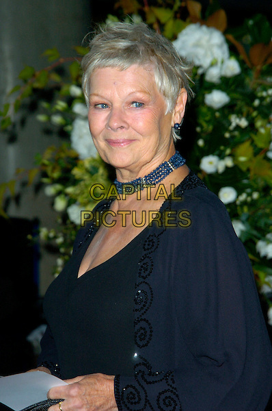 DAME JUDI DENCH.National Movie Awards, Royal Festival Hall, London, England..September 28th, 2007.half length black choker necklace blue beads beaded .CAP/CAN.©Can Nguyen/Capital Pictures