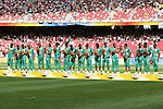 23 August 2008: Nigeria team with silver medals and flowers. The Medal Ceremony for the Men's Olympic Football Tournament was held at the National Stadium in Beijing, China after the Gold Medal match.