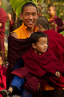 A moment in the day of Buddhist monks at a monastery in the Himalayan foothills of Sikkim, India