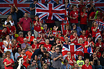 the British fans celebrate. Rubber 2. Great Britain v Kazakhstan. World group II play off in the BNP Paribas Fed Cup. Copper Box arena. Queen Elizabeth Olympic Park. Stratford. London. UK. 20/04/2019. ~ MANDATORY Credit Garry Bowden/Sportinpictures - NO UNAUTHORISED USE - 07837 394578
