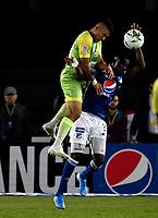 BOGOTÁ-COLOMBIA, 03–08-2019: Hanzel Zapata de Millonarios y Juan Silgado de Jaguares de Córdoba F.C. disputan el balón, durante partido entre Millonarios y Jaguares de Córdoba F.C. de la fecha 4 por la Liga Águila II 2019  jugado en el estadio Nemesio Camacho El Campín de la ciudad de Bogotá. / Hanzel Zapata of Millonarios and Juan Silgado of Jaguares de Cordoba F. C. figth for the ball, during a match between Millonarios and Jaguares de Cordoba F. C. of the 4th date for the Aguila Leguaje II 2019 played at the Nemesio Camacho El Campin Stadium in Bogota city, Photo: VizzorImage / Luis Ramírez / Staff.