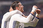 Real Madrid's Cristiano Ronaldo and Carlos Henrique Casemiro celebrating a goal during La Liga match between Real Madrid and Real Sociedad at Santiago Bernabeu Stadium in Madrid, Spain. January 29, 2017. (ALTERPHOTOS/BorjaB.Hojas)