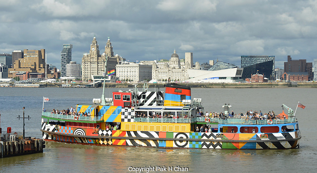 Dazzle Ferry And Liverpool Waterfront
