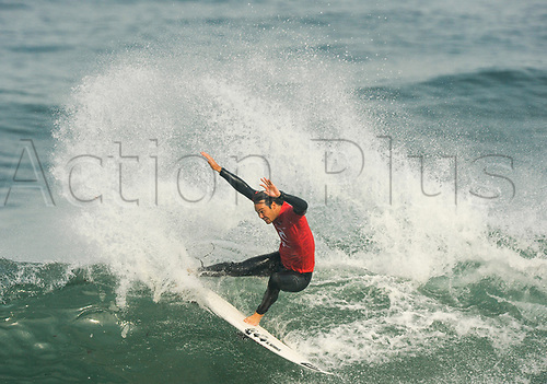 April 19th Bells Beach, Melbourne, Victoria, Australia; Rip Curl Pro Bells Beach Surfing; Jordy Smith (ZAF) chops back on a wave during his quarter final heat against Adriano De Souza (BRA); Jordy Smith (ZAF) went on to win the heat