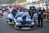 Jul, 22, 2011; Morrison, CO, USA: NHRA pro stock crew members for driver Erica Enders during qualifying for the Mile High Nationals at Bandimere Speedway. Mandatory Credit: Mark J. Rebilas-