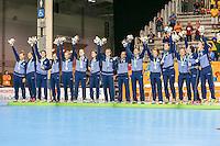 TORONTO, CANADA, 24.07.2015 - PAN-HANDBALL - As atletas da Argentina medalha de prata na final do Handball Feminino no Centro de Exposições de Toronto nesta sexta-feira, 24. (Foto: William Volcov/Brazil Photo Press)