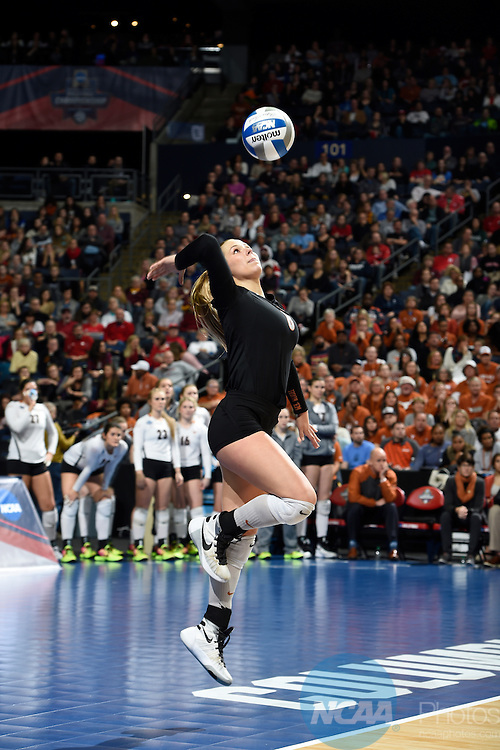 COLUMBUS, OH - DECEMBER 17:  Cat McCoy (8) of the University of Texas serves against Stanford University during the Division I Women's Volleyball Championship held at Nationwide Arena on December 17, 2016 in Columbus, Ohio.  Stanford defeated Texas 3-1 to win the national title. (Photo by Jamie Schwaberow/NCAA Photos via Getty Images)