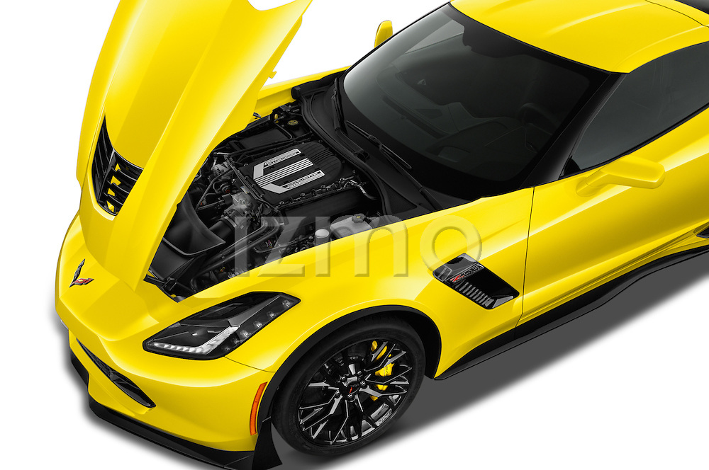 Car Stock 2016 Chevrolet Corvette Z06-Coupe-1LZ 3 Door Targa Engine  high angle detail view