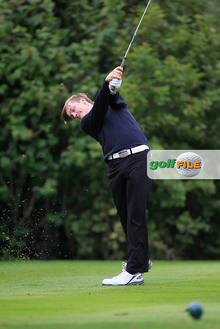 David Carey (Carton House) on the 11th tee during for the AIG Senior Cup Semi-Finals at Royal Tara Golf Club on Friday 20th September 2013.<br /> Picture:  Thos Caffrey / www.golffile.ie