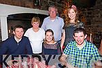 Eoin O'Sullivan, Louise Parker, Brian O'Sullivan, Maureen O'Sullivan, Brendan O'Sullivan, Marion O'Gorman, Knocknagoshel, enjoying a  Family night out at Finnegans Restaurant on Saturday
