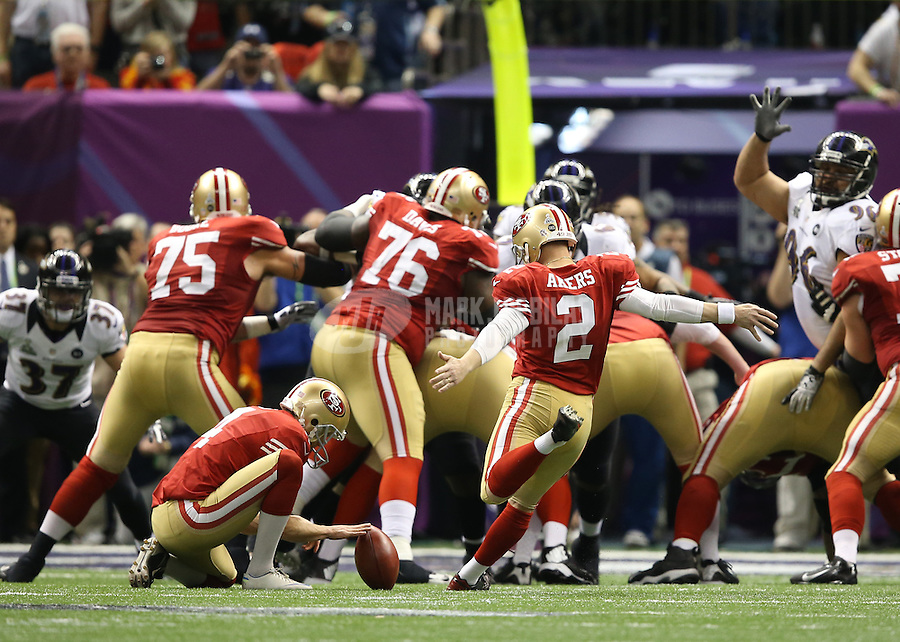 Feb 3, 2013; New Orleans, LA, USA; San Francisco 49ers kicker David Akers (2) kicks a field goal in the second quarter against the Baltimore Ravens in Super Bowl XLVII at the Mercedes-Benz Superdome. Mandatory Credit: Mark J. Rebilas-
