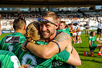 Manawatu women's coach Mike Pettman celebrates victory in the cup final. Day two of the 2018 Bayleys National Sevens at Rotorua International Stadium in Rotorua, New Zealand on Sunday, 14 January 2018. Photo: Dave Lintott / lintottphoto.co.nz
