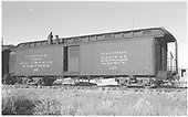 Baggage car #127 built by D&amp;RG as #28 in 1883.  Renumbered in 1885/1886.<br /> D&amp;RGW  Alamosa, CO  Taken by Richardson, Robert W. - 12/1951