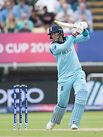 Joe Root (England) drives forward of point to the boundary during Australia vs England, ICC World Cup Semi-Final Cricket at Edgbaston Stadium on 11th July 2019
