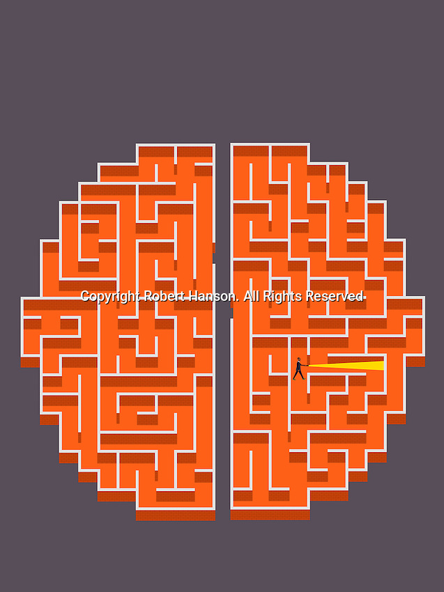 Businessman with torch lost in brick wall brain maze