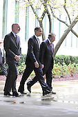 McLean, VA - April 20, 2009 -- United States President Barack Obama, center, is escorted to his car by CIA Director Leon Panetta, right and Deputy Director Steve Kappas, left, after making remarks to Central Intelligence Agency (CIA) employees at the George Bush Center for Intelligence (CIA Headquarters) in McLean, Virginia on Monday, April 20, 2009..Credit: Ron Sachs / Pool via CNP