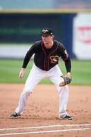 Quad Cities River Bandits first baseman Connor Goedert (8) during a game against the Burlington Bees on May 9, 2016 at Modern Woodmen Park in Davenport, Iowa.  Quad Cities defeated Burlington 12-4.  (Mike Janes/Four Seam Images)
