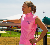 Emma-Jayne Wilson g before introductions for the Female Jockey Challenge on Black-Eyed Susan Day at Pimlico Race Course in Baltimore, Maryland on May 18, 2012.