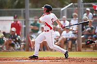 Illinois State Redbirds left fielder Daniel Dwyer (32) at bat during a game against the Michigan State Spartans on March 8, 2016 at North Charlotte Regional Park in Port Charlotte, Florida.  Michigan State defeated Illinois State 15-0.  (Mike Janes/Four Seam Images)