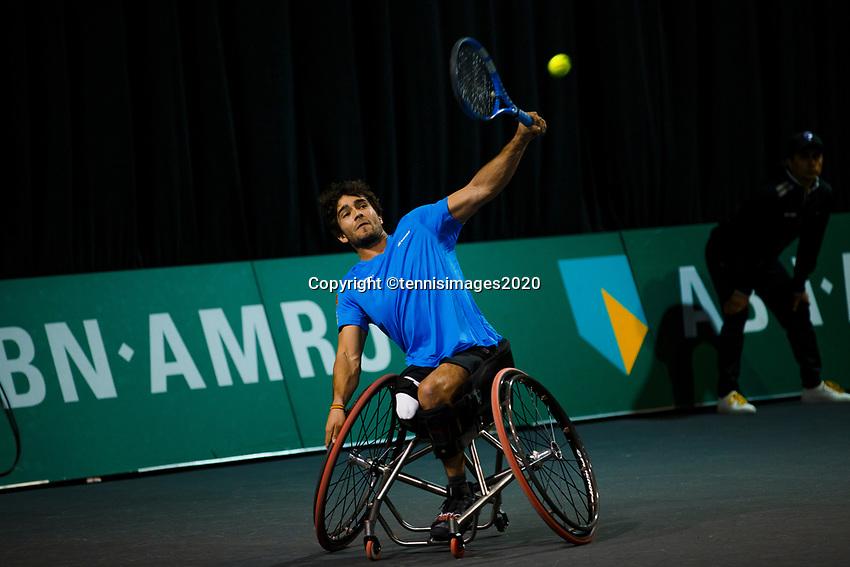 Rotterdam, The Netherlands, 11 Februari 2020, ABNAMRO World Tennis Tournament, Ahoy, <br /> Wheelchair tennis: Daniel Caverzashci (ES).i<br /> Photo: www.tennisimages.com