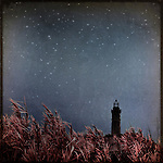A distant lighthouse and grass at night