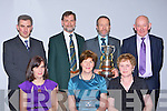at the East Kerry All Stars in the INEC on Friday night Ann Daly St Pats, Juliet Kelly Killarney, Han Donnolly Gneeveguilla. Back row: Stephen Daly St Pats, Pat O'Brien East Kerry board, Sean Kelly MEP with the O'Donoghue Cup and Derry Donnolly Gneeveguilla.