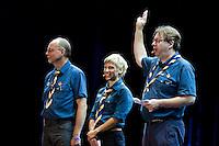 Camp chiefs Lasse Karlsson, Marie Reinecke and Göran Hägerdahl at the opening ceremony. Photo: Magnus Fröderberg/Scouterna