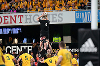 Brodie Retallick takes a lineout ball during the New Zealand All Blacks v Australia, Rugby Championship test match, Forsyth Barr stadium, Dunedin, New Zealand. 26 August 2017. Copyright Image: Derek Morrison / www.photosport.nz